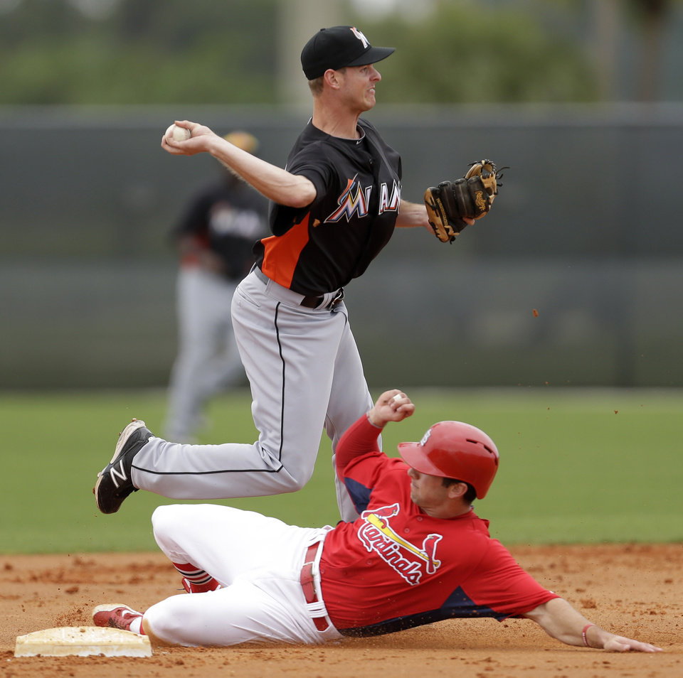 Miami Marlins non-roster invitee infielder Danny Black, top, turns a double play as St. Louis Cardinals non-roster invitee infielder Greg Garcia slides into second during an exhibition spring training baseball game, Thursday, Feb. 28, 2013, in Jupiter, Fla. (AP Photo/Julio Cortez)