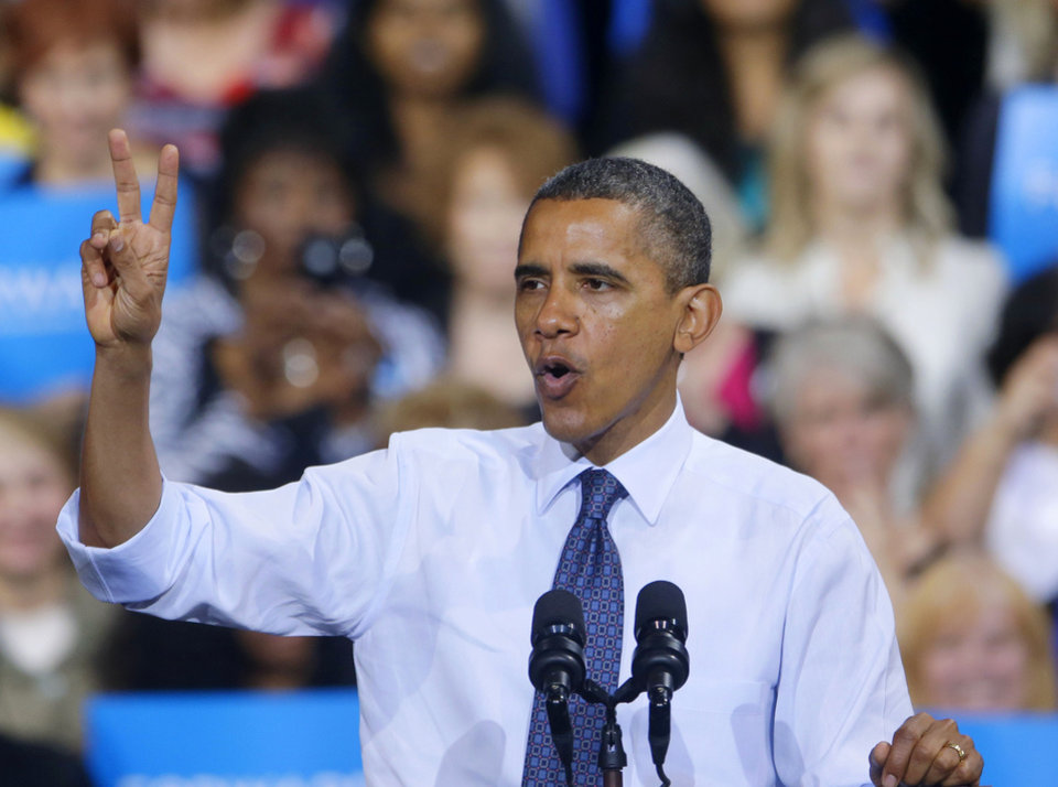 President Barack Obama gestures during a campaign event at George Mason University, Friday, Oct. 5, 2012, in Fairfax, Va (AP Photo/Pablo Martinez Monsivais)