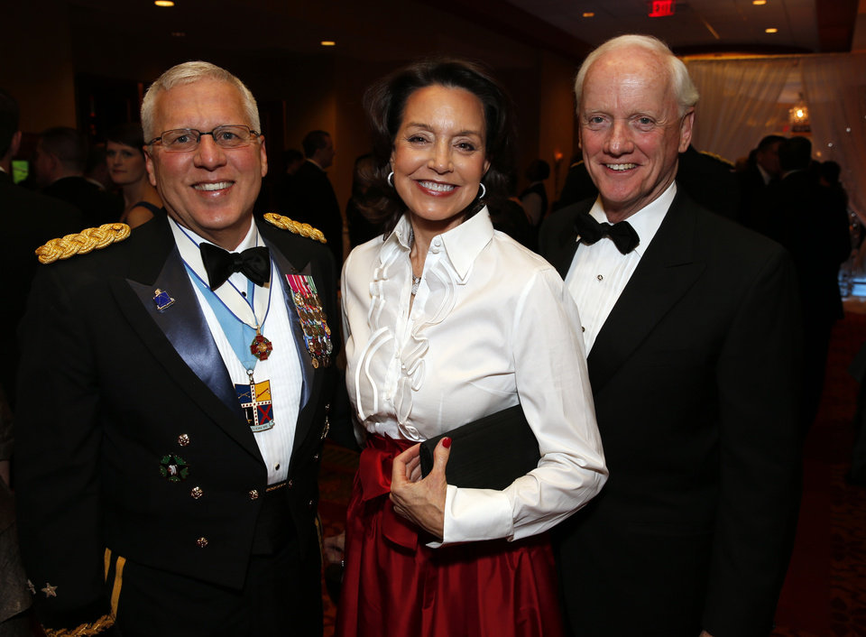 Maj. General Miles Deering, Cathy and Frank Keeting attend the Oklahoma Speaker's Ball at the Embassy Suites Hotel on Friday, Feb. 1, 2013 in Norman, Okla.  Photo by Steve Sisney, The Oklahoman