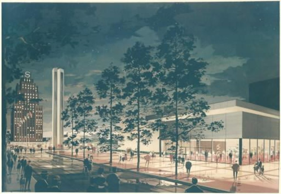 Photo -  Early conceptual renderings released to the public during the early planning stages for Mummers Theater showed a far more contemporary, conservative design than the one eventually developed by architect John Johansen. The Oklahoman Archives    -
