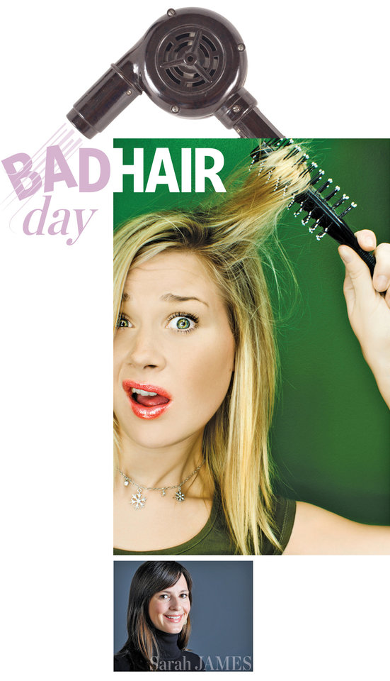 Photo - BAD HAIR day GRAPHIC WITH PHOTOS: 1) HAIR DRYER (CLIP ART) 2) BAD HAIR / WOMAN WITH HAIRBRUSH (CLIP ART) 3) Sarah James in the OPUBCO studio on Wednesday, Dec. 23, 2009, in Oklahoma City, Okla.   Photo by Chris Landsberger, The Oklahoman
