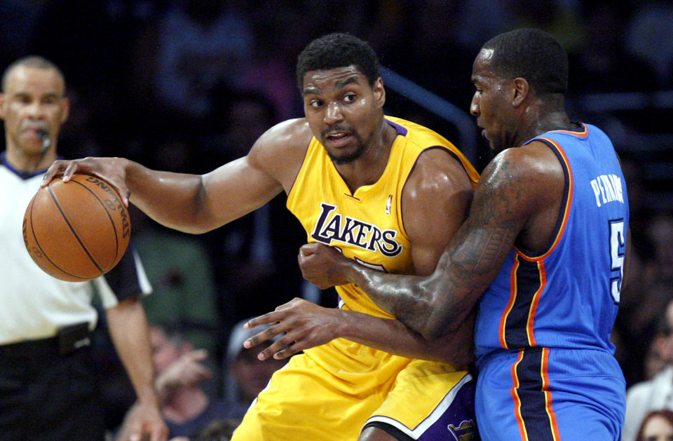 Oklahoma City's Kendrick Perkins (5) defends again Los Angeles' Andrew Bynum (17) during Game 4 in the second round of the NBA basketball playoffs between the L.A. Lakers and the Oklahoma City Thunder at the Staples Center in Los Angeles, Saturday, May 19, 2012. Photo by Nate Billings, The Oklahoman
