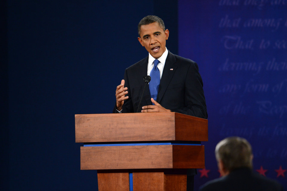 President Barack Obama speaks during the first presidential debate with former Massachusetts Governor Mitt Romney at the University of Denver Wednesday, Oct. 3, 2012, in Denver. (AP Photo/The Denver Post, Craig F. Walker) MAGS OUT; TV OUT; INTERNET OUT ORG XMIT: CODEN214