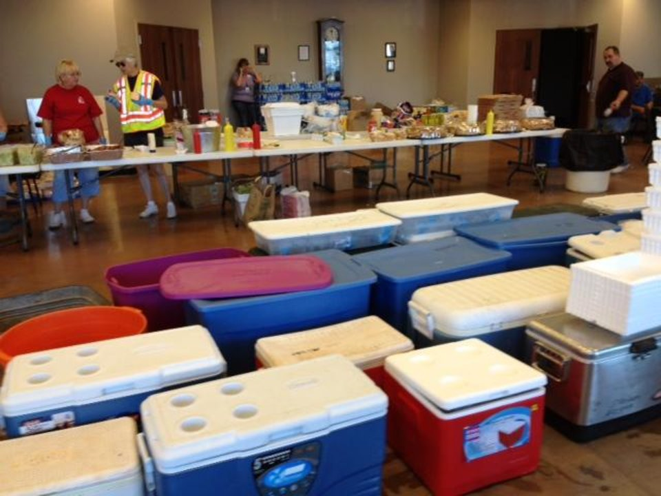 Photo - Supplies for people near the Luther wildfire. Photo by Jim Beckel.