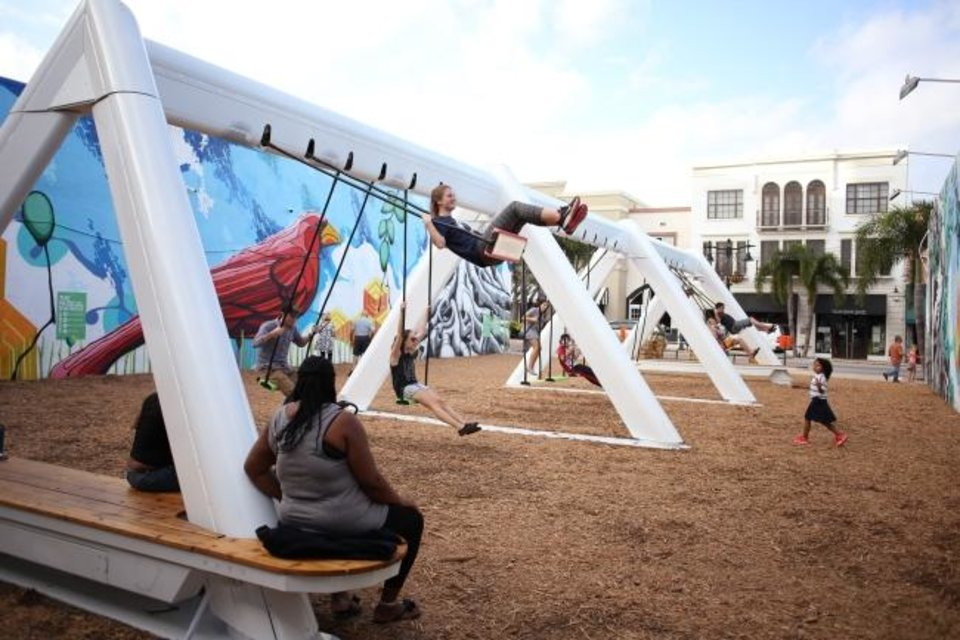 Photo -  Installation of the interactive traveling exhibit Musical Swings will begin Friday at Bicentennial Park. [PHOTO PROVIDED]