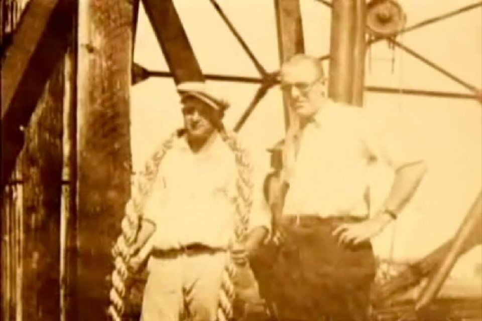 "Photo - C.W. FLINT: C.W. ""Obie"" Flint, left, bought into Tulsa Rig, Reel & Manufacturing Co. not long after it was founded in 1908. The company, known as TRR, evolved into today's Flintco Inc., a century old this year. The man on the right is unidentified. - PROVIDED BY FLINTCO INC.	ORG XMIT: 0802222249468695"