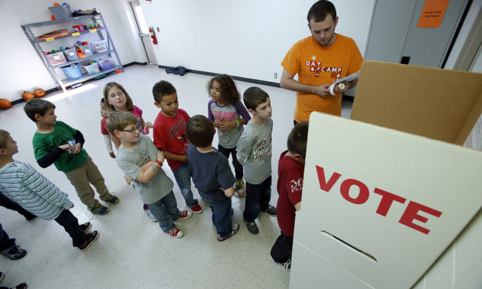 Voters line up for the YMCA kids election at the Greenbriar Program Center on Tuesday, Oct. 30, 2012 in Oklahoma City, Okla. Photo by Steve Sisney, The Oklahoman