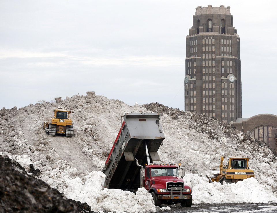 Photo - A dump truck unloads snow at the Central Terminal that was removed from south Buffalo after heavy lake-effect snowstorms, Sunday, Nov. 23, 2014, in Buffalo, N.Y. Western New York continues to dig out from the heavy snow dropped this week by lake-effect snowstorms. (AP Photo/Mike Groll)