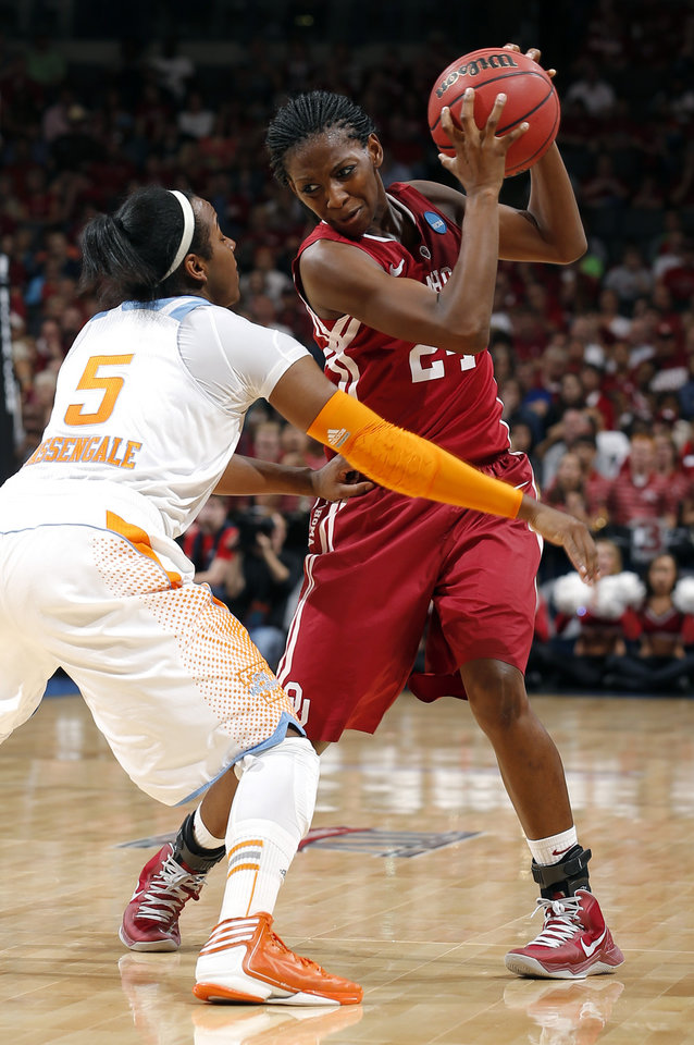 Photo - Oklahoma's Sharane Campbell (24) tries to get around Tennessee's Ariel Massengale (5) during the college basketball game between the University of Oklahoma and the University of Tennessee at the  Oklahoma City Regional for the NCAA women's college basketball tournament at Chesapeake Energy Arena in Oklahoma City, Sunday, March 31, 2013. Photo by Sarah Phipps, The Oklahoman