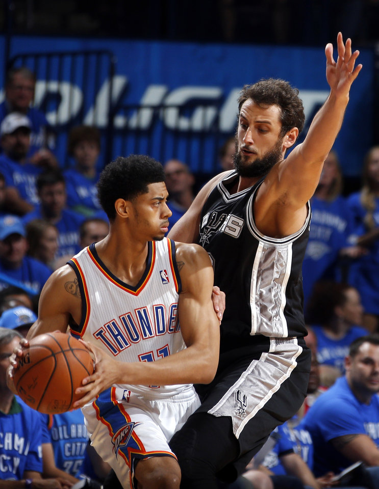 Photo - Oklahoma City's Jeremy Lamb (11) looks to get around San Antonio's Marco Belinelli (3) during Game 3 of the Western Conference Finals in the NBA playoffs between the Oklahoma City Thunder and the San Antonio Spurs at Chesapeake Energy Arena in Oklahoma City, Sunday, May 25, 2014. Photo by Bryan Terry, The Oklahoman
