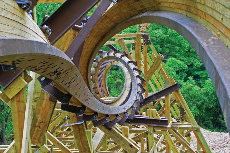 Photo - The new Outlaw Run roller coaster at Silver Dollar City theme park in Branson, Mo. Photo courtesy of the Branson/Lakes Area Convention and Visitors Bureau