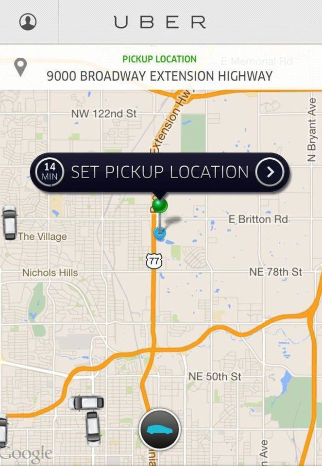The icons that look like cars shown in this screen shot from the Uber mobile application lets users know where drivers are located, ready to come and give them a ride. <strong></strong>