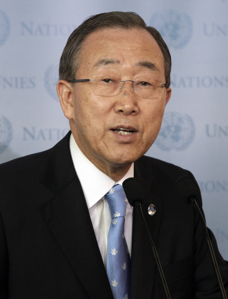Photo - This Sept. 21, 2012, file photo shows United Nations Secretary General Ban Ki-moon attending a brief news conference at the United Nations. Ban Ki-moon says Iran has agreed to endorse the principles in the so-called