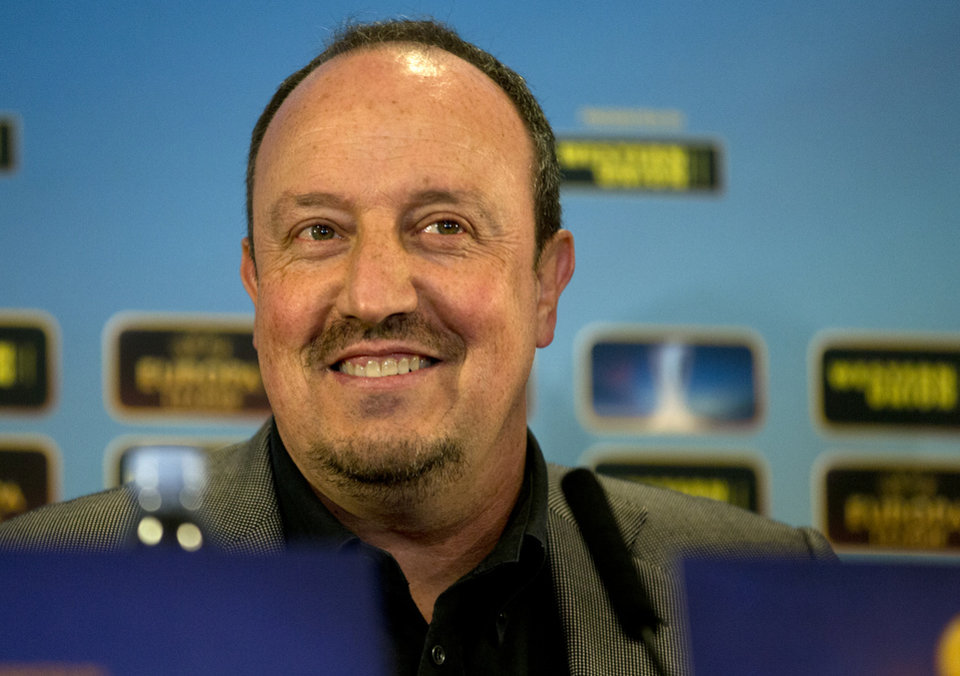 Chelsea's interim first team manager Rafael Benitez speaking at a press conference at Stamford Bridge stadium in London, Wednesday May 1, 2013, ahead of their Europa League semifinal second leg soccer match against Basel, at Stamford Bridge stadium, Thursday, May 2, Chelsea lead 2-1 from the first leg. (AP Photo/Alastair Grant)