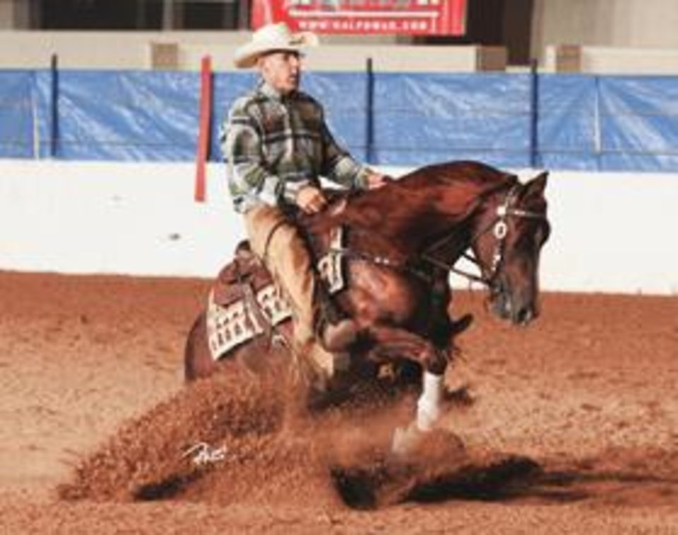 Ron Ralls and Solano Cat ride in the reining portion of the Southwest Reigned Cow Horse Association Kalpowar Futurity & Faith Performance Horses Derby last year. Photo provided