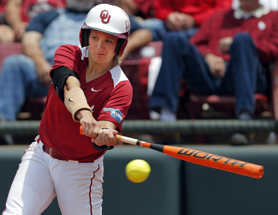 Photo - OU's Shelby Pendley (1) drives in Destinee Martinez (00) in the 2nd inning during the final game of the Norman Regional in 2014 NCAA softball championship between Oklahoma and Texas A&M in Norman, Okla., Sunday, May 18, 2014. OU won 11-6. Photo by Nate Billings, The Oklahoman