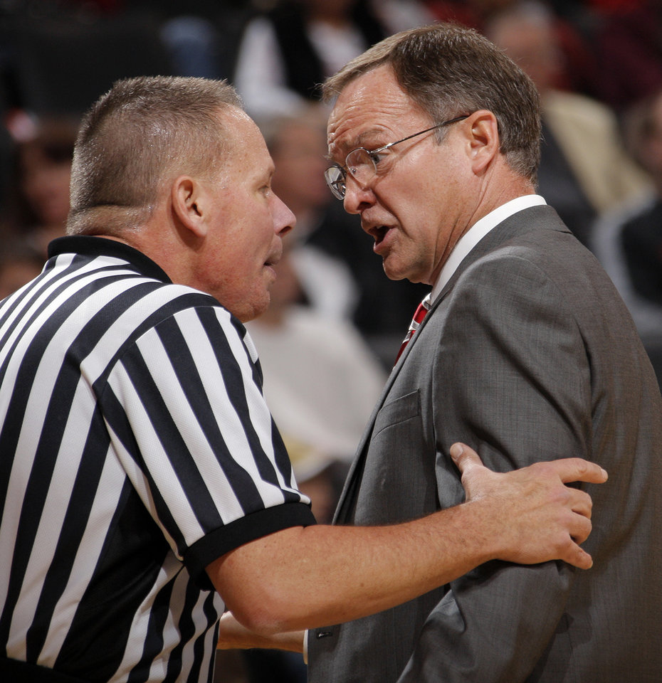 OU head coach Lon Kruger argues with an official in the second half during the Pete Maravich men's college basketball game of the Ramada All-College Classic between the University of Oklahoma Sooners and the University of Houston Cougars at the Chesapeake Energy Arena in Oklahoma City, Saturday, Dec. 17, 2011. OU won, 79-74. Photo by Nate Billings, The Oklahoman