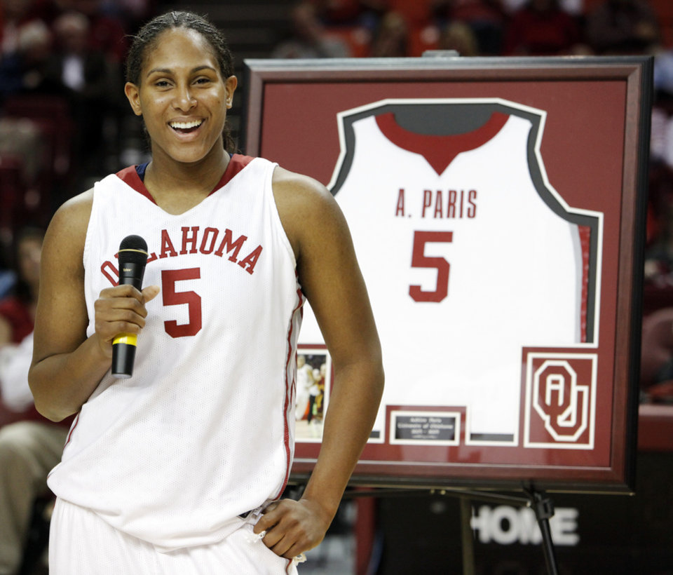 OU\'s Ashley Paris speaks as part of senior night after the women\'s college basketball game between Texas Tech and the University of Oklahoma at the Lloyd Noble Center in Norman, Okla., Wednesday, March 4, 2009. OU won, 61-49. BY NATE BILLINGS, THE OKLAHOMAN ORG XMIT: KOD