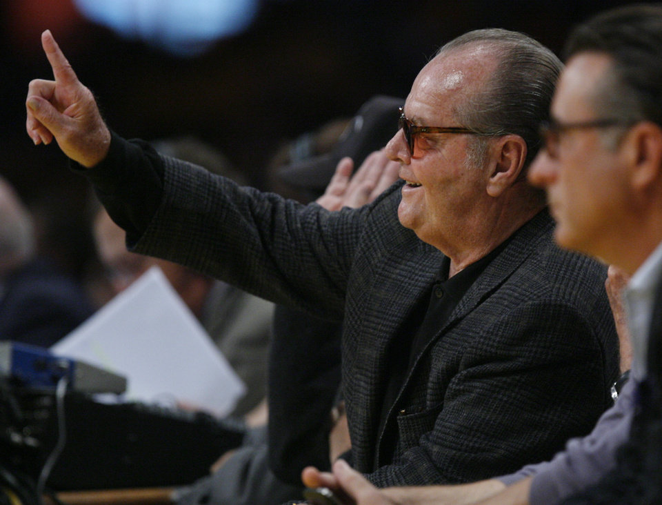 Jack Nicholson wags his finger after Oklahoma City's James Harden (13) is called for a foul during Game 3 in the second round of the NBA basketball playoffs between the L.A. Lakers and the Oklahoma City Thunder at the Staples Center in Los Angeles, Friday, May 18, 2012. Photo by Nate Billings, The Oklahoman