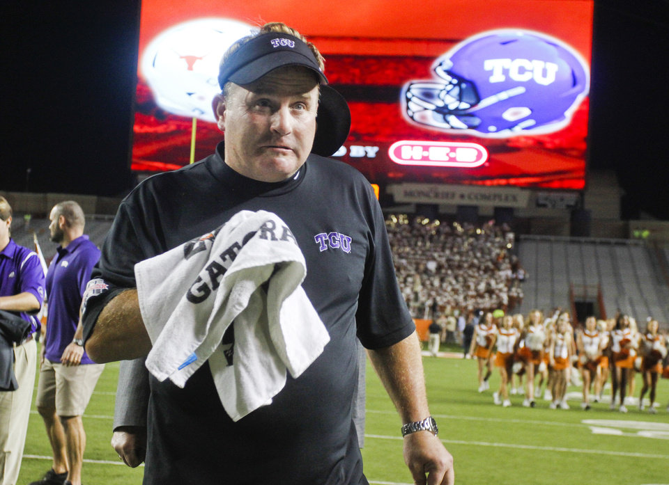 TCU head coach Gary Patterson leaves the field after his team won an NCAA college football game over Texas 20-13 on Thursday, Nov. 22, 2012, in Austin, Texas.(AP Photo/Jack Plunkett)