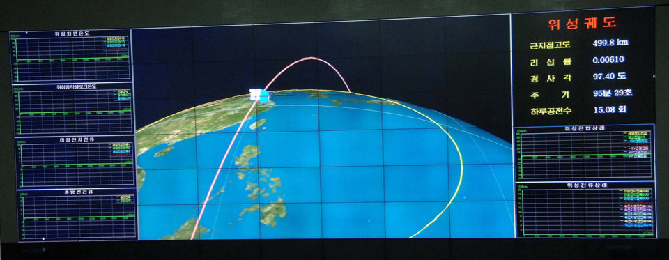 Photo - This monitor screen image taken and released Wednesday, Dec. 12, 2012 by the Korean Central News Agency (KCNA) and distributed in Tokyo by the Korea News Service shows a graphic of an orbit of a satellite carried by the Unha-3 rocket that was launched from the launch site on the west coast, in the village of Tongchang-ri, North Korea. North Korea successfully fired a long-range rocket on Wednesday. (AP Photo/Korea Central News Agency via Korea News Service)  JAPAN OUT UNTIL 14 DAYS AFTER THE DAY OF TRANSMISSION ORG XMIT: TOK825