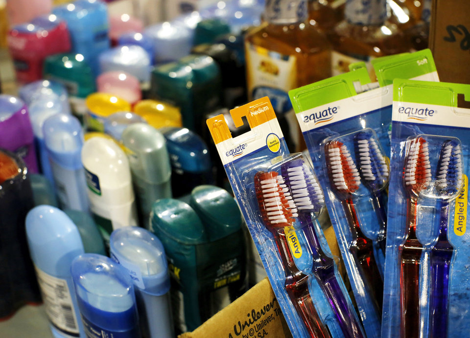 Photo - Personal hygiene items and other toiletries were offered to tornado survivors during the recent