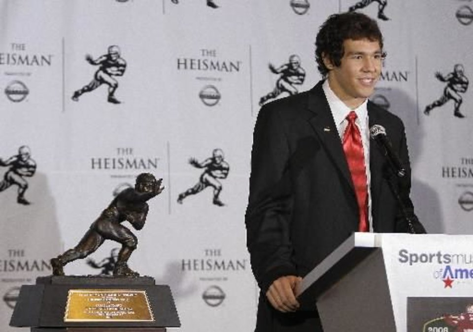 University of Oklahoma football player  Sam  Bradford answers questions for the media after being awarded the Heisman Trophy Saturday, Dec. 13, 2008 in New York. (AP Photo/Julie Jacobson)