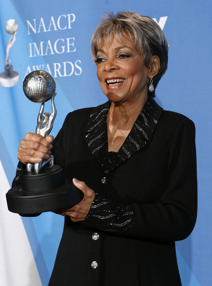 Photo - FILE - This Feb. 14, 2008 file photo shows Ruby Dee backstage with the Chairman's award at the 39th NAACP Image Awards, in Los Angeles. Dee, an acclaimed actor and civil rights activist whose versatile career spanned stage, radio television and film, has died at age 91, according to her daughter. Nora Davis Day told The Associated Press on Thursday, June 12, 2014, that her mother died at home at New Rochelle, New York, on Wednesday night.  (AP Photo/Kevork Djansezian, file)