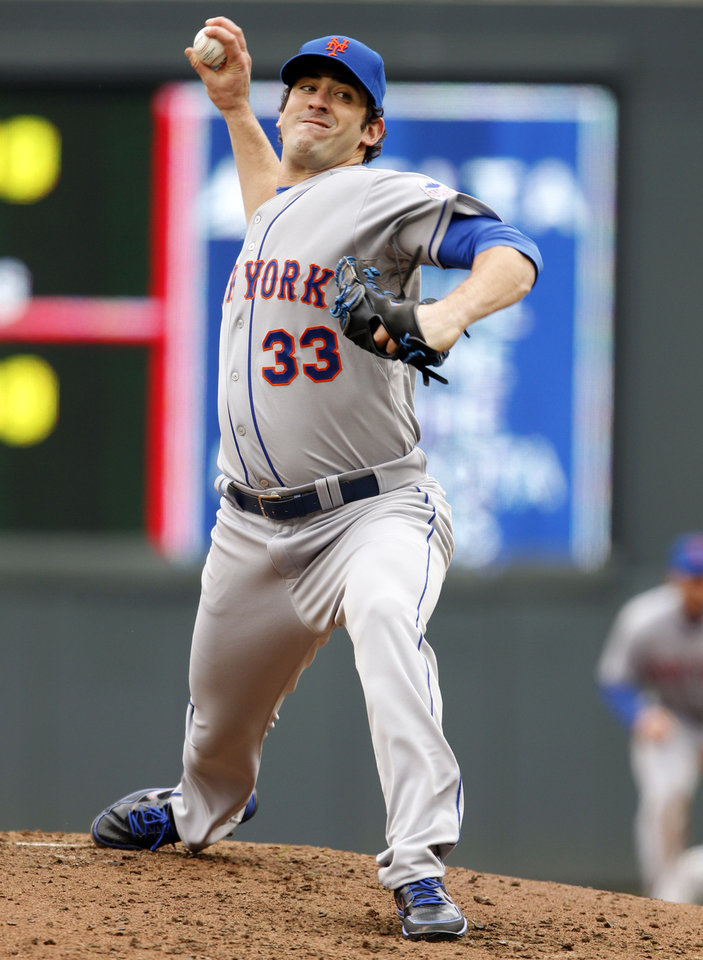 New York Mets starting pitcher Matt Harvey throws against the Minnesota Twins during the third inning of a baseball game Saturday, April 13, 2013, in Minneapolis. The Mets won 4-2. (AP Photo/Genevieve Ross)