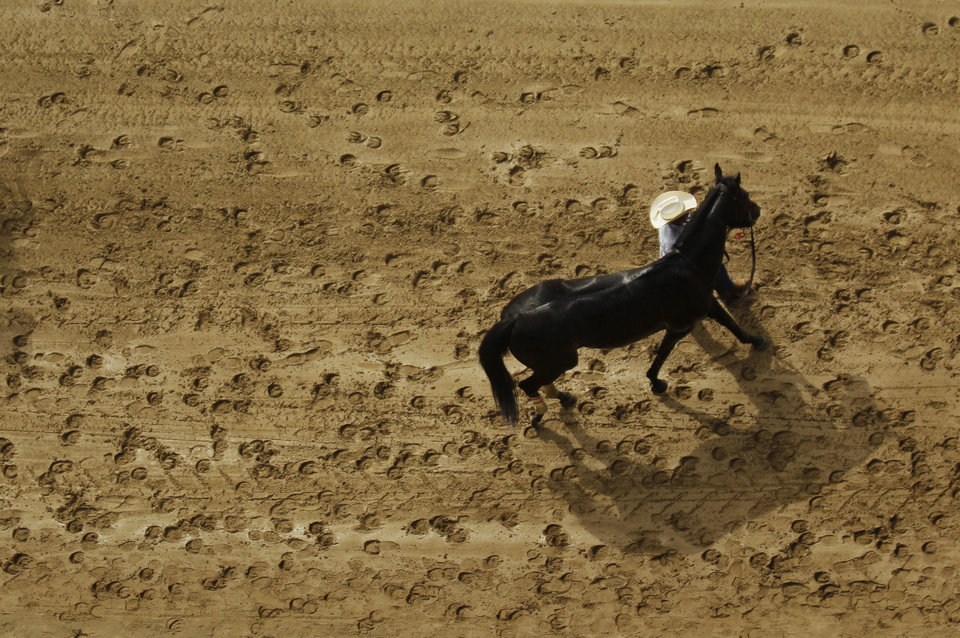 A racehorse is led by a groom following the first race at the 138th Kentucky Derby horse race at Churchill Downs Saturday, May 5, 2012, in Louisville, Ky. (AP Photo/Charlie Riedel)  ORG XMIT: DBY122