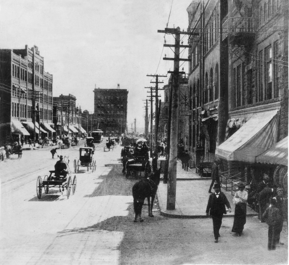 This 1903 street scene of Downtown Oklahoma City shows Broadway between First and Main in 1903.