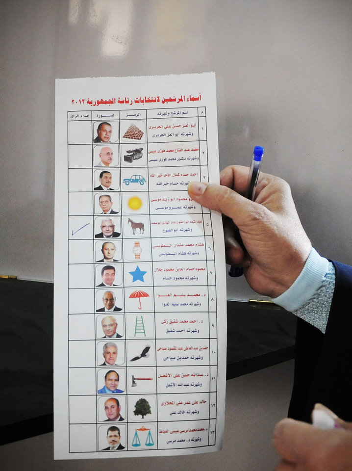 Photo -   An Egyptian woman holds a ballot paper with names of the 13 presidential candidates inside a polling station, in Giza, Egypt, Wednesday, May 23, 2012. More than 15 months after autocratic leader Hosni Mubarak's ouster, Egyptians streamed to polling stations Wednesday to freely choose a president for the first time in generations. (AP Photo/Mohammed Asad)