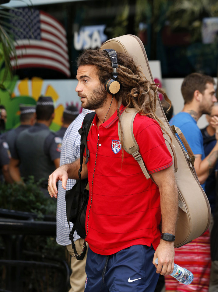 Photo - United States' Kyle Beckerman arrives at the team hotel in Sao Paulo, Brazil, Monday, June 9, 2014. The U.S. will play in group G of the 2014 soccer World Cup. (AP Photo/Julio Cortez)