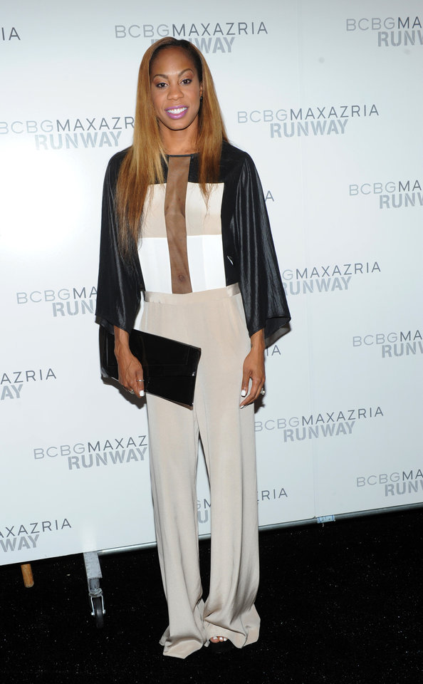 Photo -   Olympic gold medalist Sanya Richards-Ross poses before the BCBG MAX AZRIA Spring 2013 collection is shown at Fashion Week in New York, Thursday, Sept. 6, 2012. (Photo by Diane Bondareff/Invision/AP Images)