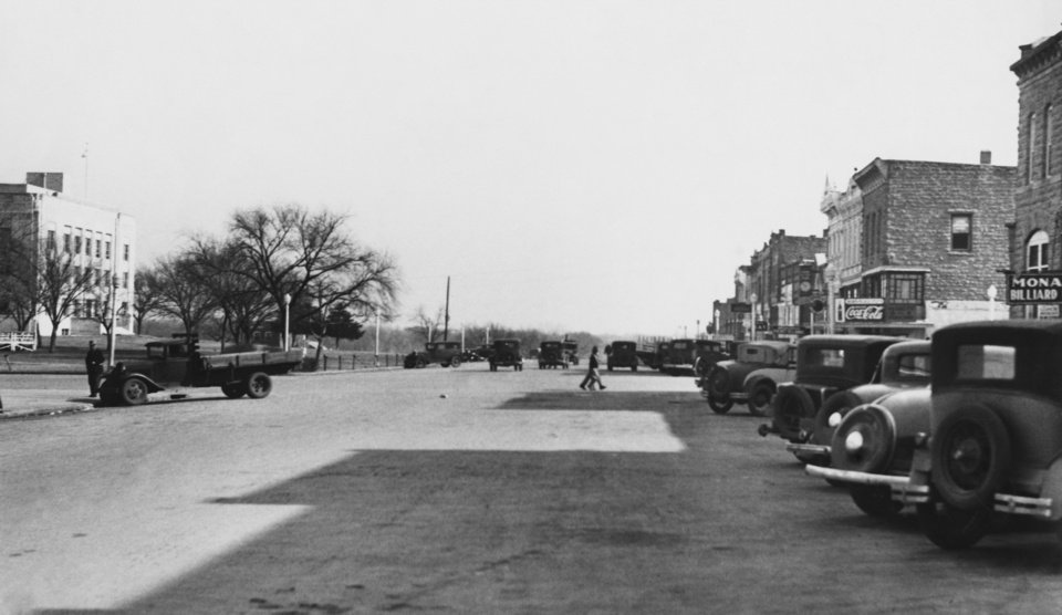 "STREET SCENES:  ""Pawnee street scene looking east, showing courthouse at left."""