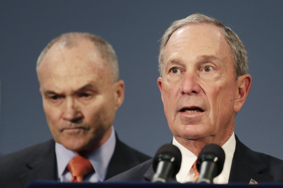 Photo - New York City Police Commissioner Raymond Kelly, left, and Mayor Michael Bloomberg hold a news conference, Thursday, April, 25, 2013 in New York. The two say the Boston Marathon bombing suspects intended to blow up their remaining explosives in Times Square. They said Dzhokhar Tsarnaev  told Boston investigators from his hospital bed that he and his brother had discussed going to New York to detonate their remaining explosives. (AP Photo/Mark Lennihan)