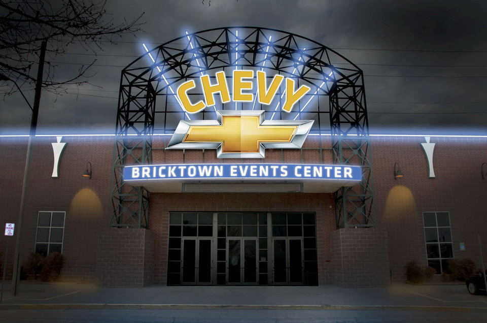 Although the sign won�t be installed until summer, this is what the Bricktown Events Center, 429 E California, will look like. A group of central Oklahoma Chevrolet dealers recently bought the naming rights. Drawing provided