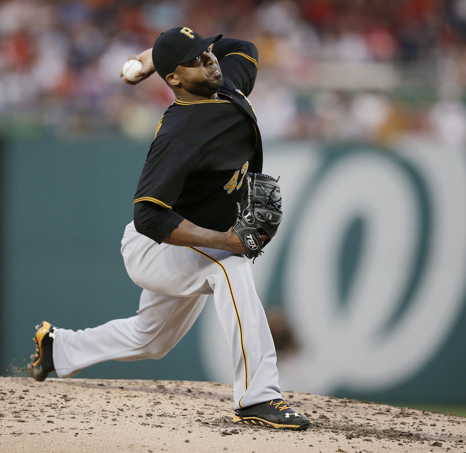 Pittsburgh Pirates starting pitcher Francisco Liriano throws to a Washington Nationals batter during the fourth inning of a baseball game at Nationals Park, Wednesday, July 24, 2013, in Washington. (AP Photo/Pablo Martinez Monsivais)