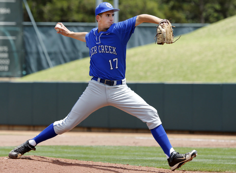 Photo - Patton Collie starts for Deer Creek in the Class 5A baseball semifinal between Deer Creek and Claremore in the high school state championships at L. Dale Mitchell Park on May 16, 2014 in Norman, Okla. Photo by Steve Sisney, The Oklahoman