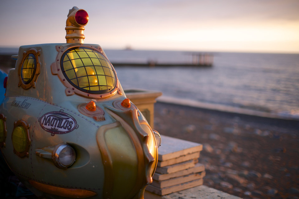 Photo - In this photo taken on Thursday, Nov. 28, 2013, a submarine from an amusement arcade is on the beach in central Sochi, Russia. As the Winter Games are getting closer, many Sochi residents are complaining that their living conditions only got worse and that authorities are deaf to their grievances. (AP Photo/Alexander Zemlianichenko)