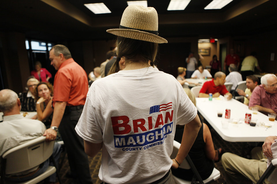 Photo - Supporters gather in support during a watch party for Brian Maughan, incumbent candidate for county commissioner, Tuesday, June 26, 2012.  Photo by Garett Fisbeck, The Oklahoman