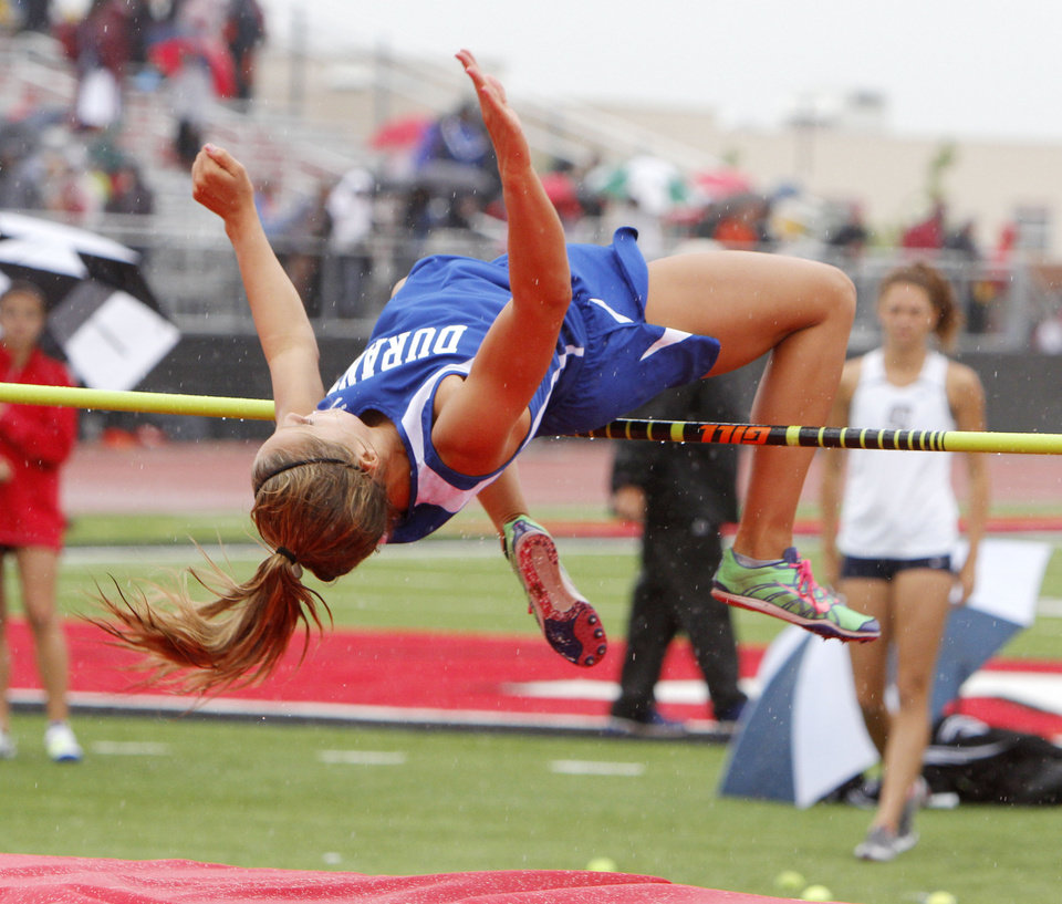CLASS 5A / CLASS 6A / HIGH SCHOOL TRACK AND FIELD / STATE TOURNAMENT: Durant's Shaina Crites clears the bar in the high jump event during the 5A and 6A state finals track meet at Yukon High School in Yukon, OK, Friday, May 11, 2012,  By Paul Hellstern, The Oklahoman