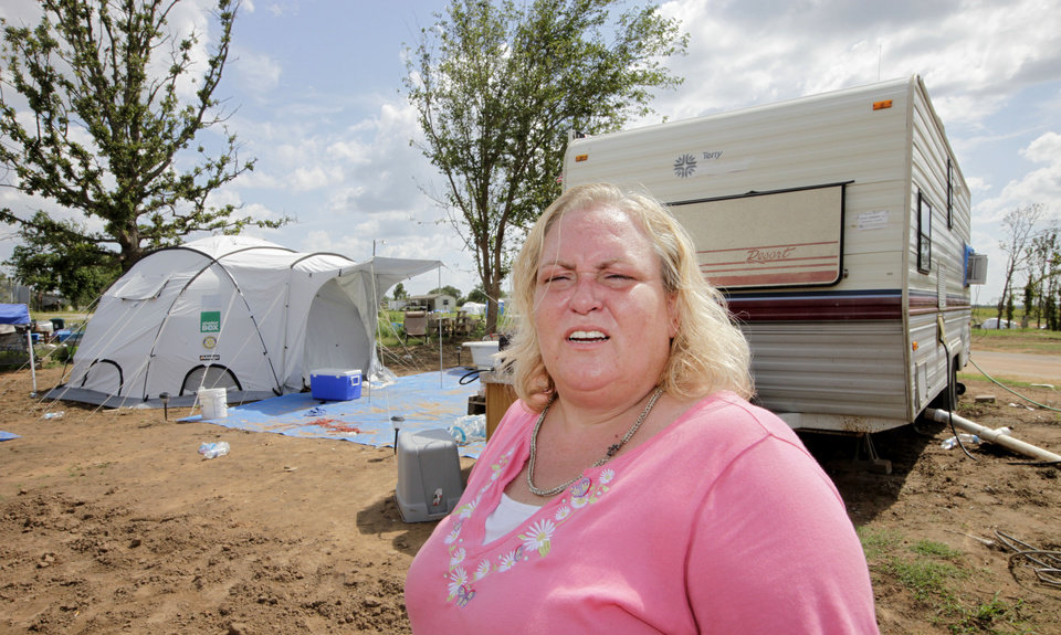 Bethel Acres tornado victim Kristina Miller says she is third in line to get a new frame home through efforts coordinated by God's Hand Ups-IGLM.  Photo by David McDaniel, The Oklahoman <strong>David McDaniel - The Oklahoman</strong>
