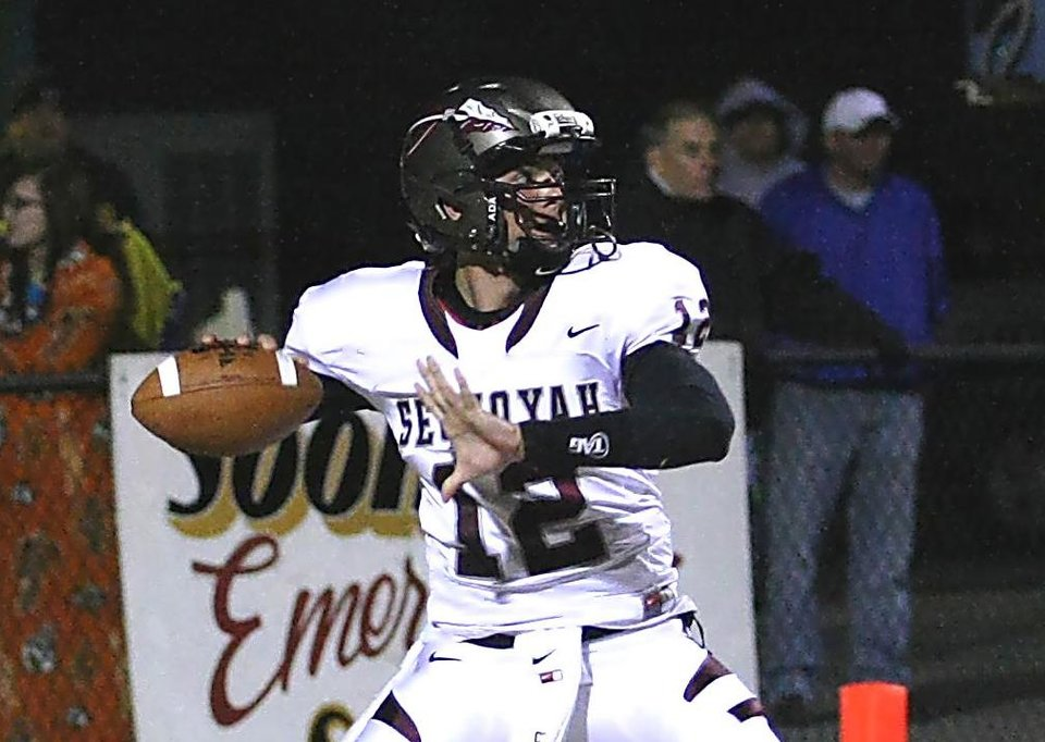 Photo - Sequoyah-Tahlequah quarterback Brayden Scott has 14 NCAA Division I scholarship offers. PHOTO BY JUSTIN KENNEDY, TAHLEQUAH DAILY PRESS