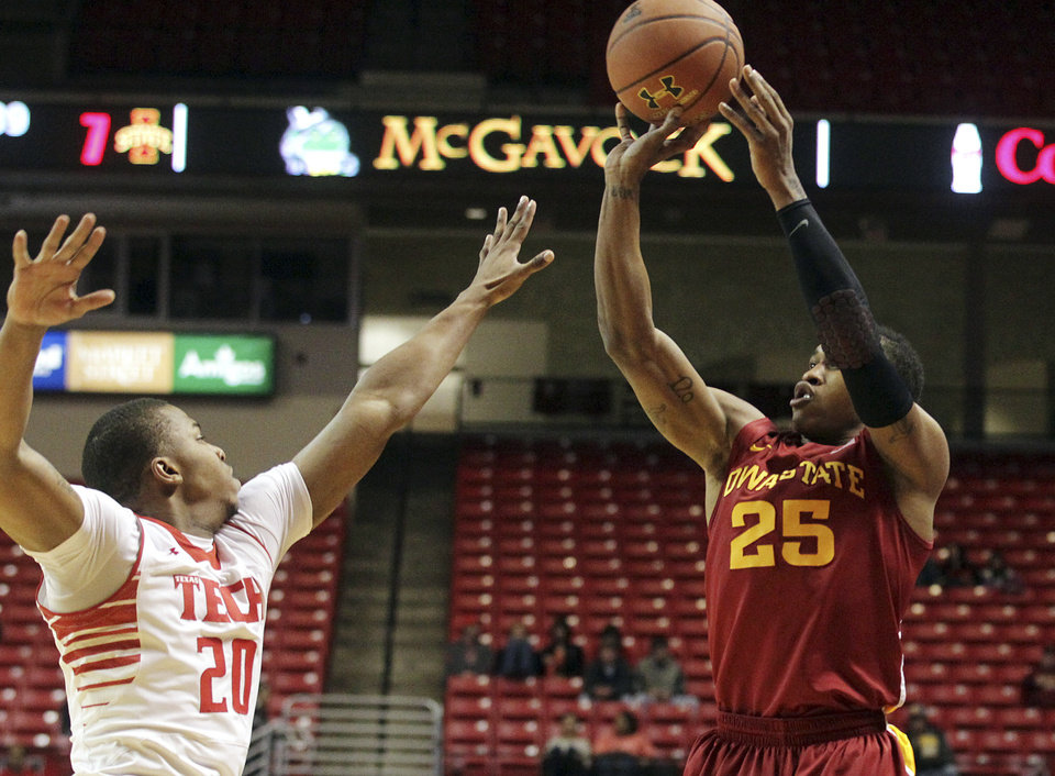 Iowa State's Tyrus McGee (25) shoots a 3-pointer over Texas Tech's Toddrick Gotcher during their NCAA college basketball game, Wednesday, Jan. 23, 2013, in Lubbock, Texas. (AP Photo/The Avalanche-Journal, Stephen Spillman) ALL LOCAL TV OUT