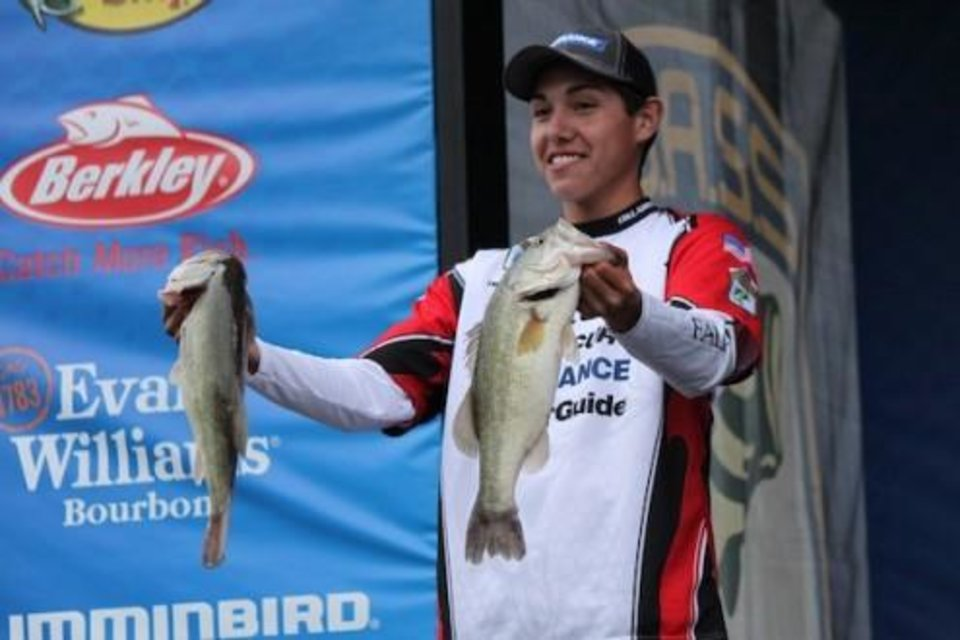 Photo -  Trevor Yates of Norman on stage at the Junior World Bassmaster Championship