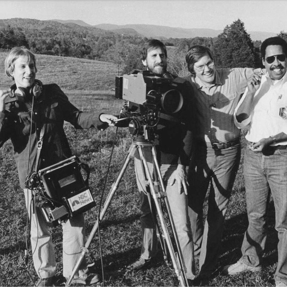 Photo -  Bob Dotson is shown in 1980 with his NBC crew. From left, are Rob Kane, sound; Allen Stecker, camera; Dotson, and Bert Medley, producer. [Provided]