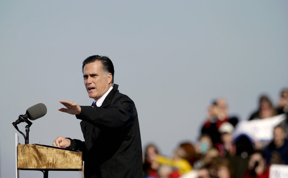Republican presidential candidate, former Massachusetts Gov. Mitt Romney gestures as he speaks during a campaign event at the Lynchburg Regional Airport, Monday, Nov. 5, 2012, in Lynchburg, Va. (AP Photo/David Goldman)