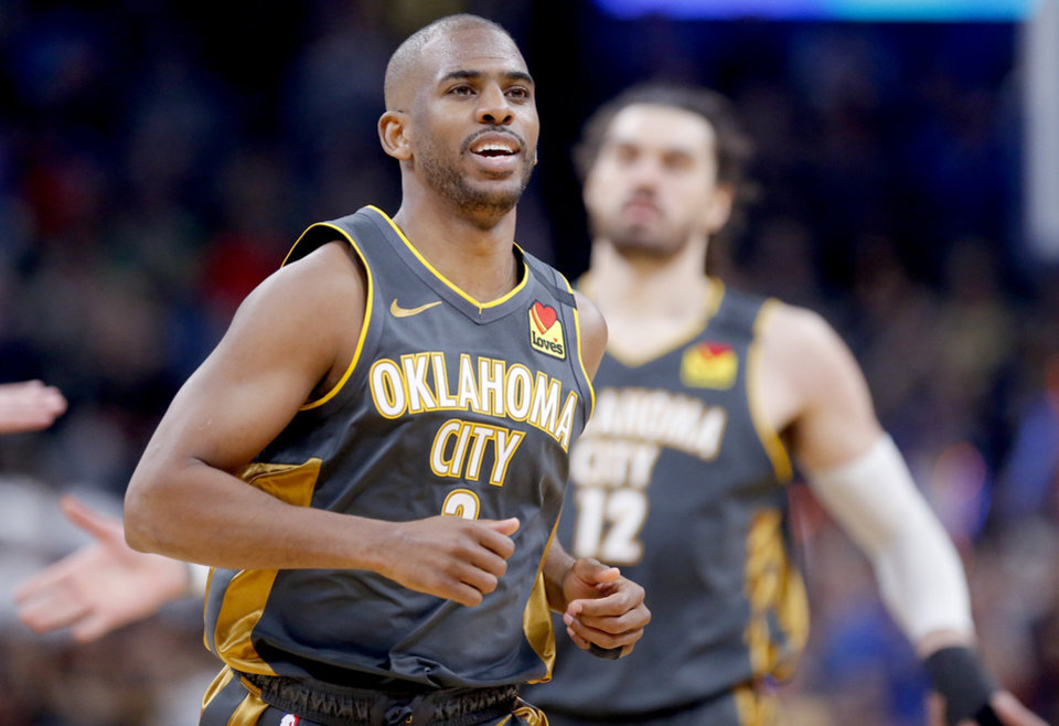 Photo - Oklahoma City's Chris Paul (3) reacts during the NBA basketball game between the Oklahoma City Thunder and the Denver Nuggets at the Chesapeake Energy Arena in Oklahoma City,  Friday, Feb. 21, 2020.  [Sarah Phipps/The Oklahoman]