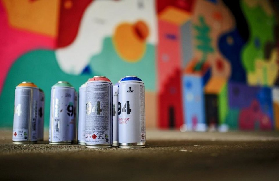 Photo - Spray paint cans used to complete the mural